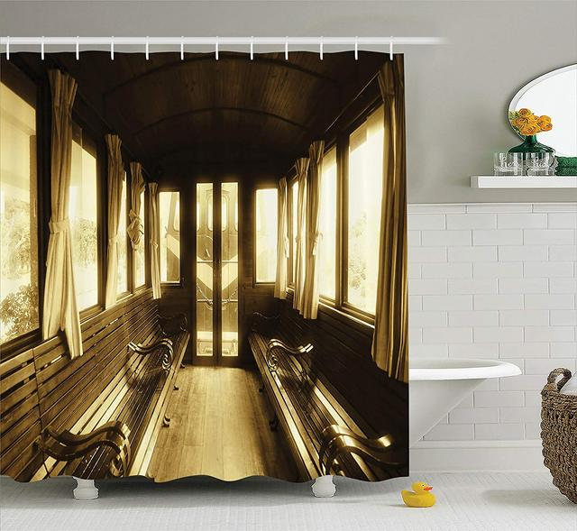 Retro Shower Curtain Antique Decor Vintage Train Salon Inside Historic Transport Windows With Curtains Bathroom Accessories