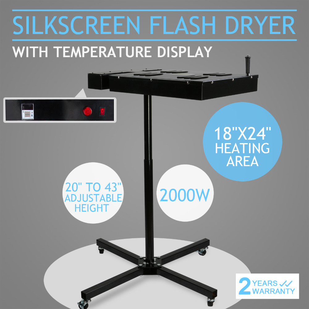 """18"""" x 24"""" Flash Dryer Silkscreen Printing T-Shirt Curing Equipment Adjustable Stand With Temperature Steel Construction Display"""