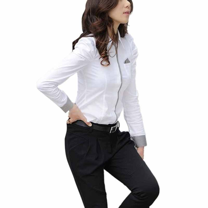 44443aeed577 ... Spring Autumn Fashion Women Office Bloues Lady Formal Button Down White  Shirt Long Sleeve Shirt Tops ...