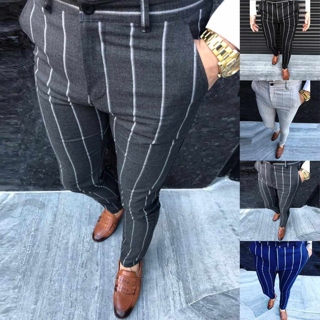 Fashion Men Casual Business Slim Fit Striped Print Zipper Long Pants Trousers M 2xl Pantalones Hombre Streetwear Joggers Skinny Pants Aliexpress