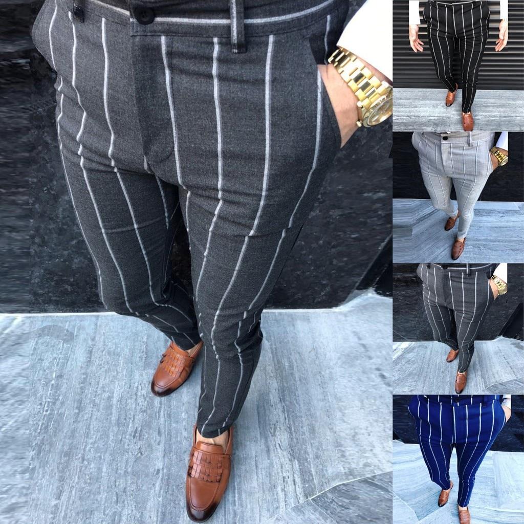 Fashion Men Casual Business Slim Fit Striped Print Zipper Long Pants Trousers M-2XL Pantalones Hombre Streetwear Joggers