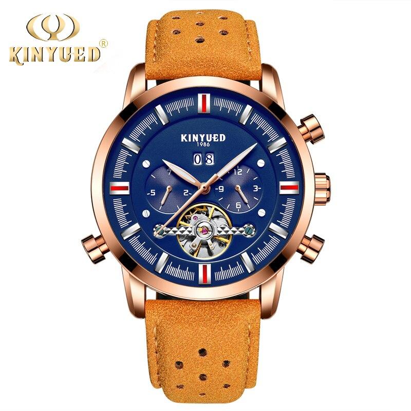 KINYUED Скелет автоматические часы для мужчин Flying Tourbillon Лидирующий бренд для мужчин's деловые Роскошные светящиеся Relogios Masculinos