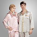 YIER Brands 100% Silk Mens Pyjamas PJS Long Sleeve Mens Sleepwear Stain Women Pajamas Sets Plus Size