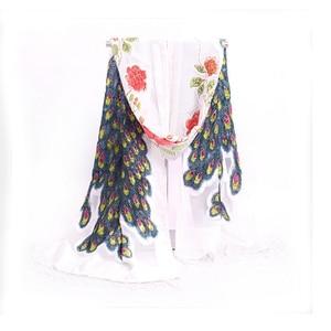 Image 3 - Brown National Trends Handmade Beaded Embroidery Scarf Velvet Silk Shawls Scarves Floral Peacock Echarpes Tassels kerchief NP063