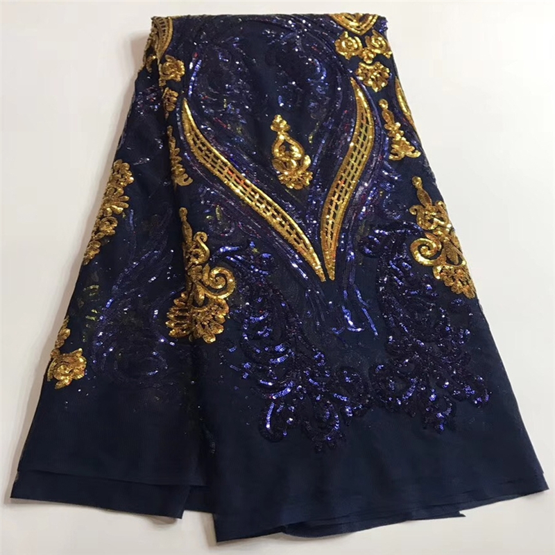 VILLIEA Best Quality African Lace Fabric Navy Blue Swiss Voile Lace High Quality Embroidery French Mesh