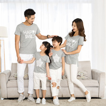 Parent-child wear summer letter printed cotton short-sleeved t-shirt family three-person group activities parent-child