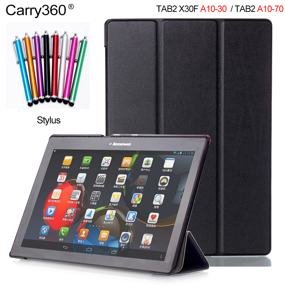 Carry360 PU Leather Case for Lenovo Tab 2 A10-70 A10-70F A10-70L Wake up Sleep Cover for Lenovo Tab2 A10-30 X30F 10.1'' tab2 a10 30 lichee pattern pu leather case for lenovo tab 2 x30 x30f x30m a10 30 flip tablet cover protector stylus