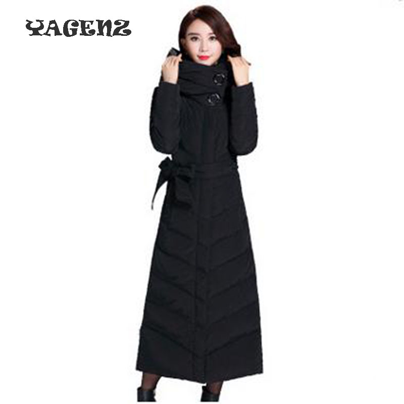 2017 Winter Women Eiderdown Cotton Coat New Fashion Pure Color Belt Keep Warm Long Coat Leisure Slim Big Yards Women Clothing refrigeration and air conditioning condenser cooling fan radiator cold ocean outer rotor motor ywf 4d 250 60w