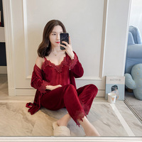 2018 NEW Velour Robe Sleepwear Sets Spring Womens 3 Pieces Strap Top Pants Suit Casual Pajamas Sexy Nightwear Kimono Bath Gown