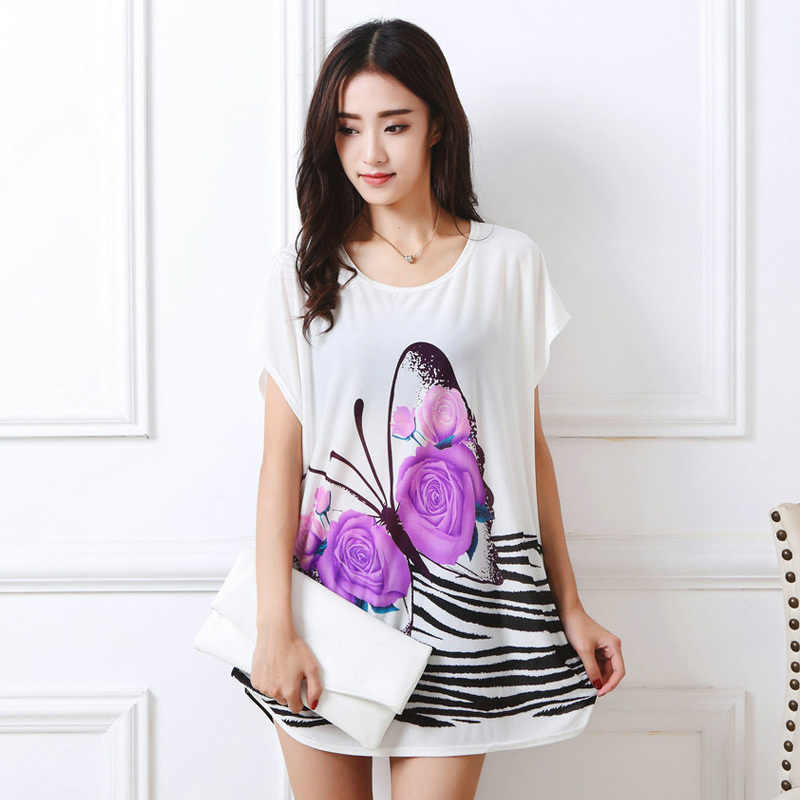 afe7f60d New Fashion T Shirt Women Summer 2018 Short Sleeve Long Print Floral Plus  Size Tops Tees
