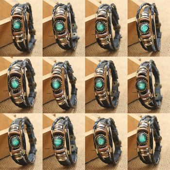 Fashion Punk Men Jewelry 12 Horoscope Leather Bracelet Retro Wooden Bead Charm Bracelet Female Male Jewelry Gifts Wholesale 2