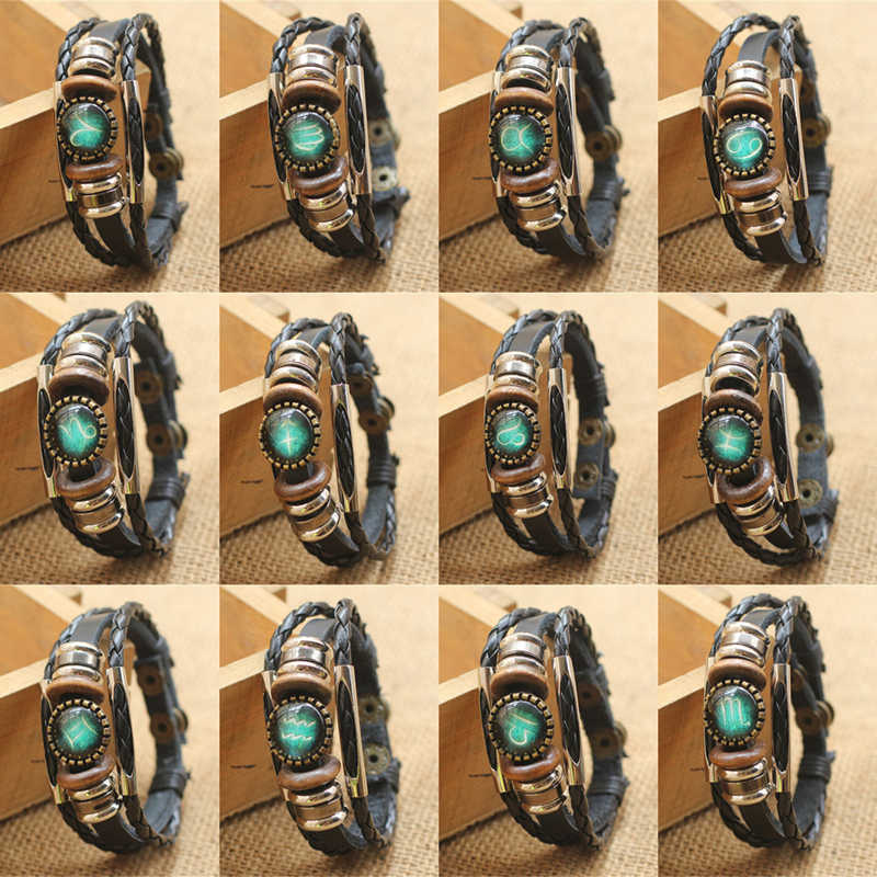 Fashion Punk Men Jewelry 12 Horoscope Leather Bracelet Retro Wooden Bead Charm Bracelet Female Male Jewelry Gifts Wholesale
