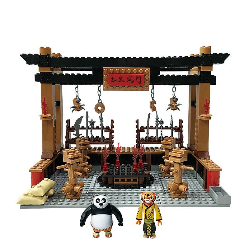 Kung Fu Panda 3 Building Blocks 4 Scenes Training Romm Kitchen Contest Field Panda Village Action Figures Educational Toy Nibbler