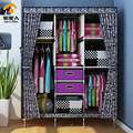 Triple combination of family fashion curtain cloth wardrobe plus two drawers extended to increase money
