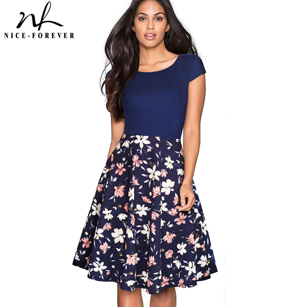 Nice-forever Retro 1950's Floral And Gird Printed O Neck Vestidos  A-Line Female Flare Party Women Summer Dress BtyA009