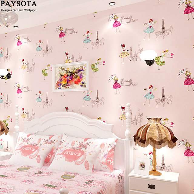 PAYSOTA South Korean Style Cute Cartoon Wallpaper Girls Princess Children Room Bedroom Sweet Pink Non
