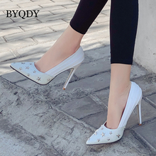 BYQDY Fashion PU Spring Woman High Heels Pumps Five-pointed Stars Rivet Decoration Gladiator 2019 Stiletto Shallow Wedding Shoes