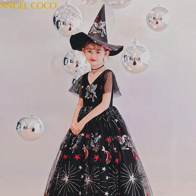 Children's Sequins Black Halloween Christmas Unicorn Party Girl Dress Carnaval Costume For Kids Easter Robe De Soiree Robe Noire