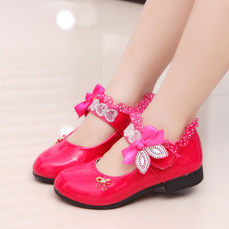 Rose Pink Red Orange Children Princess Shoes Baby Girls Shoes Kids Bows Rhinestone Girls Leather Shoes Kids Party Shoes 3-15T