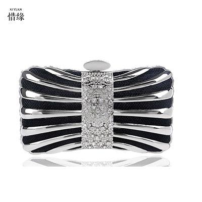 XI YUAN BRAND women Clutch Mini Hardcase Metal Clutches Evening Shoulder Bag Party Dinner Handbag for girl gifts red gold black