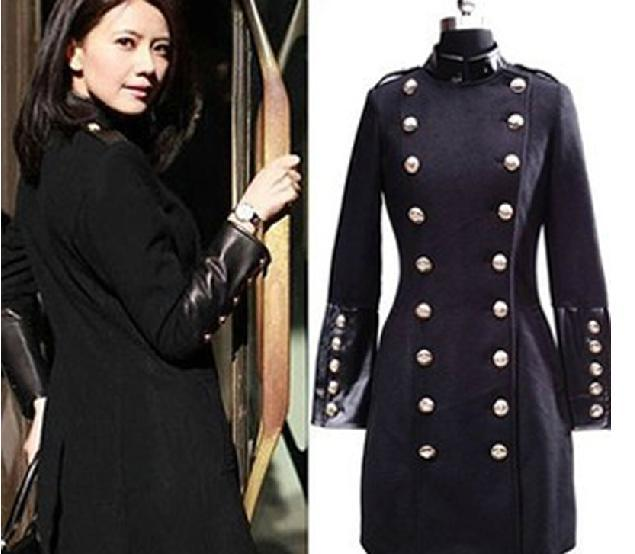 Autumn Winter Fashion Wool Coat For Women Slim Solid Stand Collar Double Breasted Black Long Coat