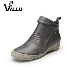 Фотография VALLU 2017 New Autumn Winter Genuine Leather Shoes Women Boots Low Heel Cowhide Ankle Boots