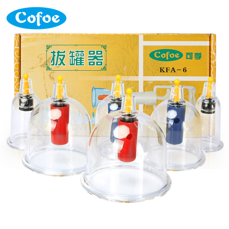 Cofoe 6PCS Cupping Set Vacuum Body Massager of Chinese Medical for Cold & Flu Relief Vancuum Cups or Clearing damp toxin cofoe yice 100 pcs test strips and 100pcs needles lancets only strips without device for diabetes blood collection medical tools