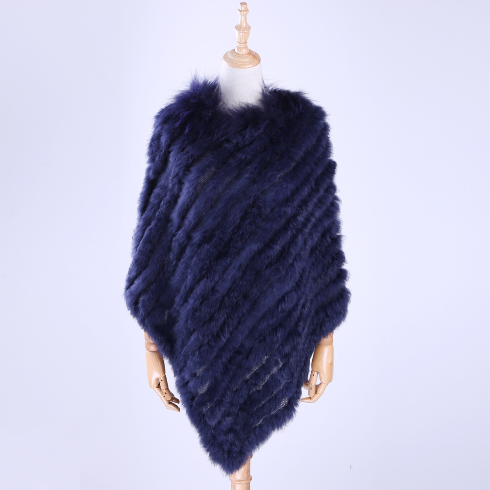 2019 Fahion Luxury Women's Lady Genuine Real Rabbit Fur Raccoon Fur Trimming Knitted Pullovers Stole Cape Poncho Wraps Free Size