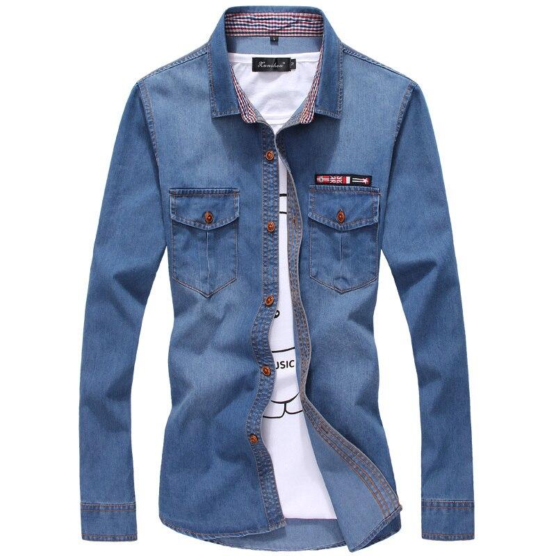 Plus Size Men Denim Shirts 5XL Cotton Turn-down Collar Pockets Camiseta Masculina 2018 Autumn Long Sleeve Blue Camisa Social