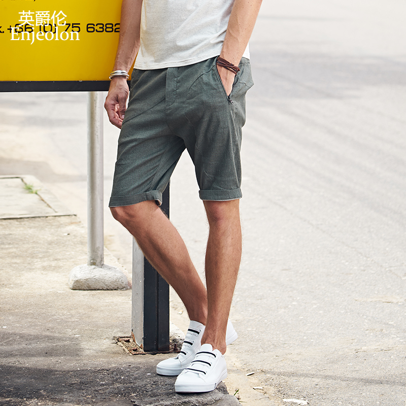 Enjeolon Brand Summer Cool Casual Shorts Men Cotton Black Green Solid Shorts Male Available Knee Length Casual Shorts K6434