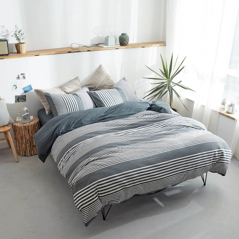Papa Mima stripe Bedlinens Queen King Size simple style knitted Cotton fabric Fitted or Flat Bedsheet