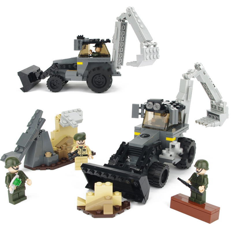 239pcs City Build Model Military Series Excavator Loader Toy for Kids Building Blocks Toys Kids Wood Gifts Boy DIY K0238-68015 8 in 1 military ship building blocks toys for boys