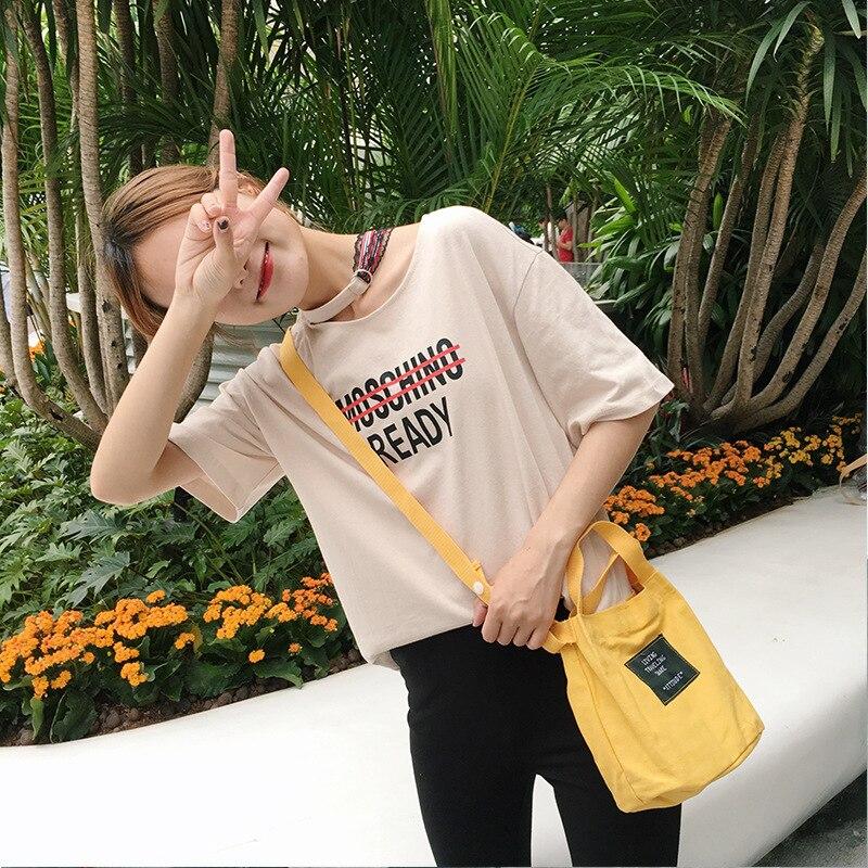 Candy Color Casual Handbag Bucket Type Messenger Bag Soft Girl Canvas Satchel Bag Small Bag Mini Bag In Summer