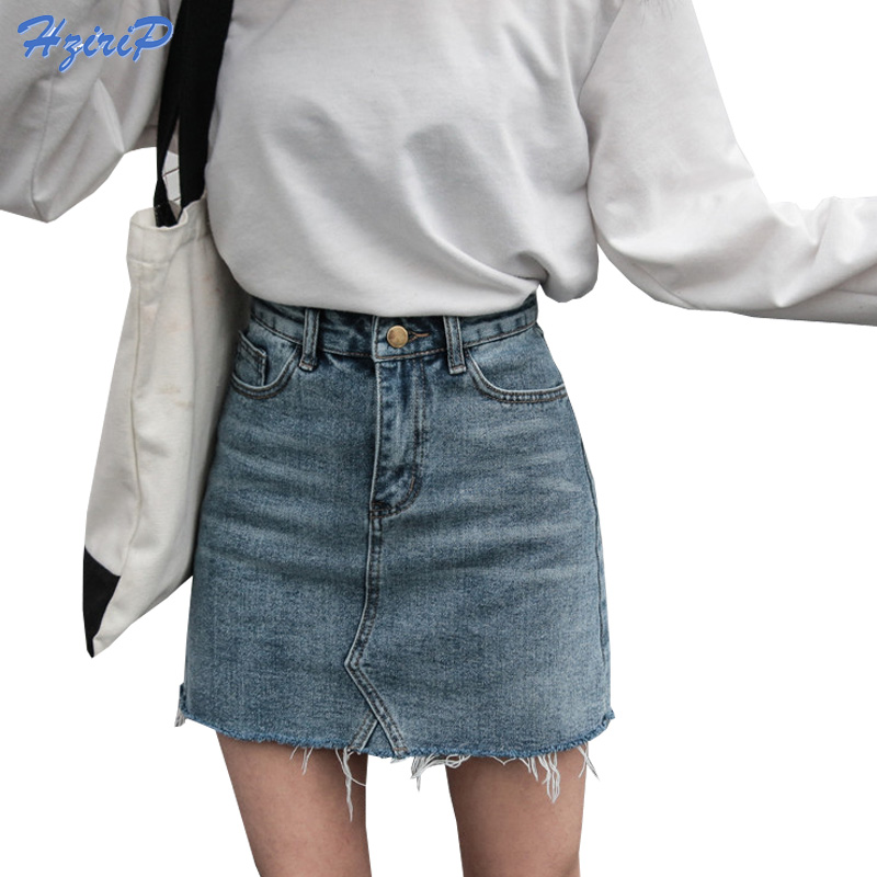 Hzirip Summer Fashion High Waist Skirts Womens Pockets Button Denim Skirt Female Saias 2018 New All-matched Casual Jeans Skirt