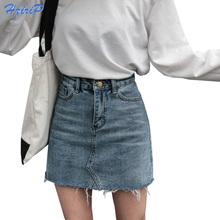 Hzirip Summer Fashion High talia Spódnice damskie kieszenie przycisk denim spódnica kobieta Saias 2018 nowy wszystko dopasowane casual Jeans spódnica tanie tanio Denim poliester spandex Imperium Powyżej kolana mini CR4519 Ołówek Ulica High Street Z HziriP Stałe XS-XL Bawełniana dżinsowa