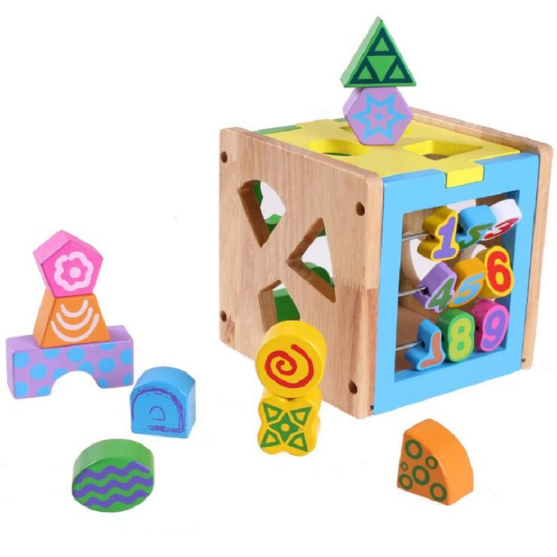 все цены на 14 Holes Intelligence Box for Shape Sorter Cognitive and Matching Wooden Building Blocks Baby Children eductional Wood Toys онлайн