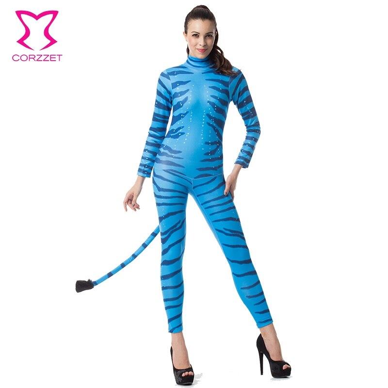 Blue Zebra Adult Animal Jumpsuit Sexy Women Costumes Clubwear Halloween Carnival -5255