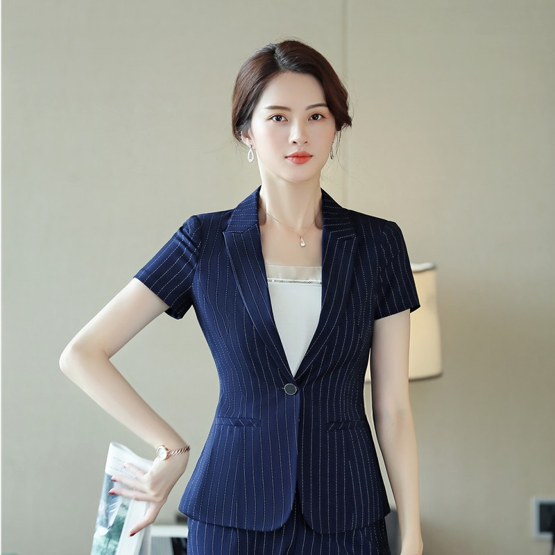 Uniform Styles Summer Short Sleeve 2019 Fashion Striped Blazers And Jackets Coat For Ladies Office Work Wear Female Tops Clothes