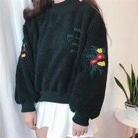 2017 Winter Korean Women S Loose Cashmere Lamb Kawaii Flowers Embroidery Thickened Long Sleeve Splice Harajuku