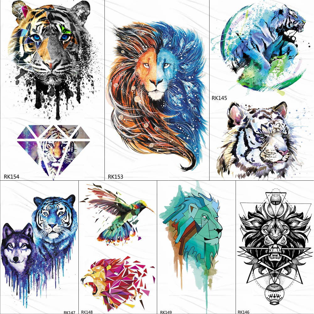 OMMGO Gagalxy Watercolor Lion Tiger Temporary Tattoos Sticker Diamond Draw Fake Tattoo Body Art Arm Flash Tatoos Paper Women Men