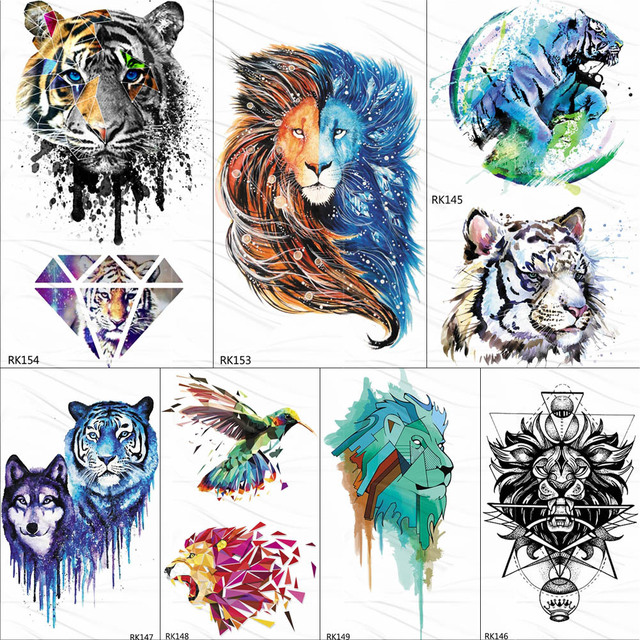 612f3f99e1d18 OMMGO Gagalxy Watercolor Lion Tiger Temporary Tattoos Sticker Diamond Draw Fake  Tattoo Body Art Arm Flash Tatoos Paper Women Men