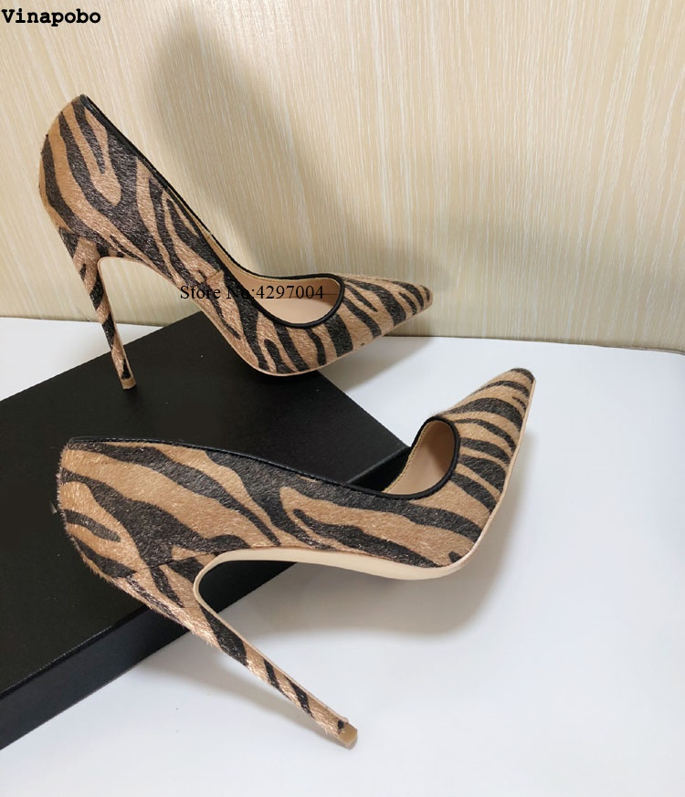 Vinapobo 2019 Spring Autumn Fashion Women Sexy Elegant thin High Heels Shoes Leopard Print Pointed Toe