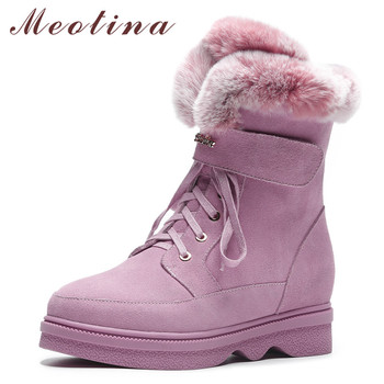 Meotina Warm Wool Snow Boots Women Real Fur Height Increasing Ankle Boots Cow Suede Zipper Short Shoes Female Winter Size 34-39
