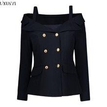 LXUNYI Double Breasted Blazer Women 2018 Formal Slim Long Sleeve font b Ladies b font Suit