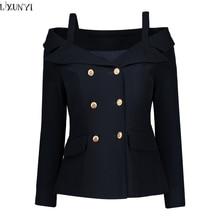 LXUNYI Double Breasted Blazer Women 2019 Formal Slim Long Sleeve Ladies Suit jacket Sexy Off Shoulder