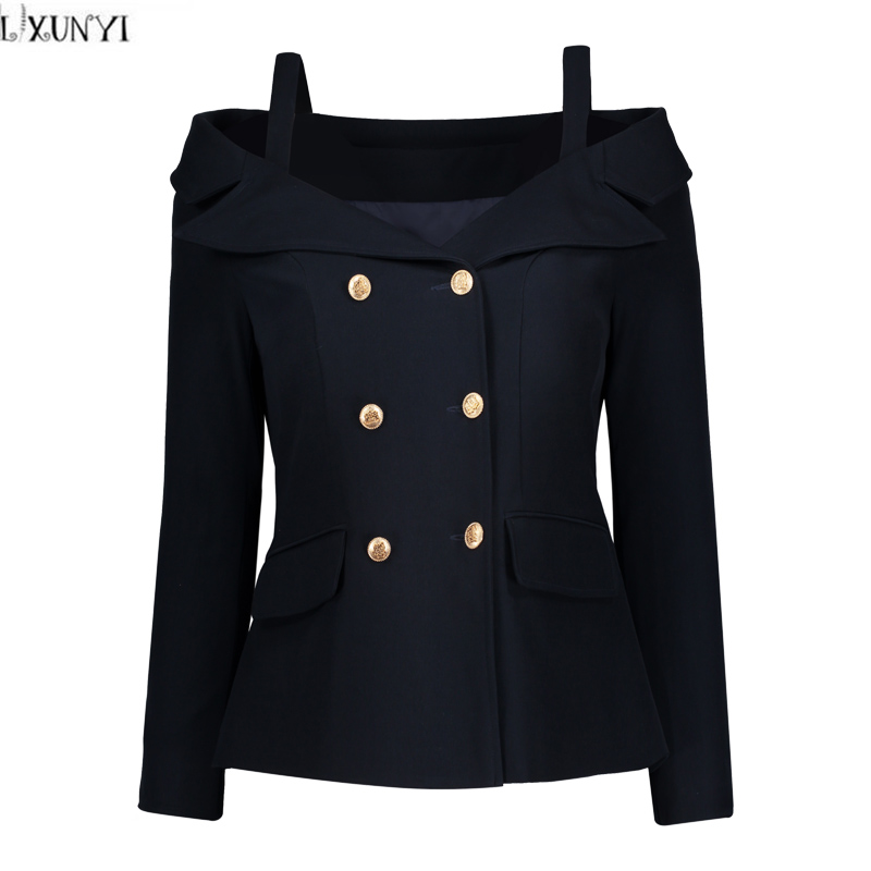 LXUNYI Double Breasted Blazer Women 2018 Formal Slim Long Sleeve Ladies Suit jacket Sexy Off Shoulder Plus Size Coat And jacket