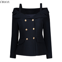 LXUNYI Double Breasted Blazer Women 2019 Formal Slim Long Sleeve Ladies Suit jacket Sexy Off Shoulder Plus Size Coat And jacket