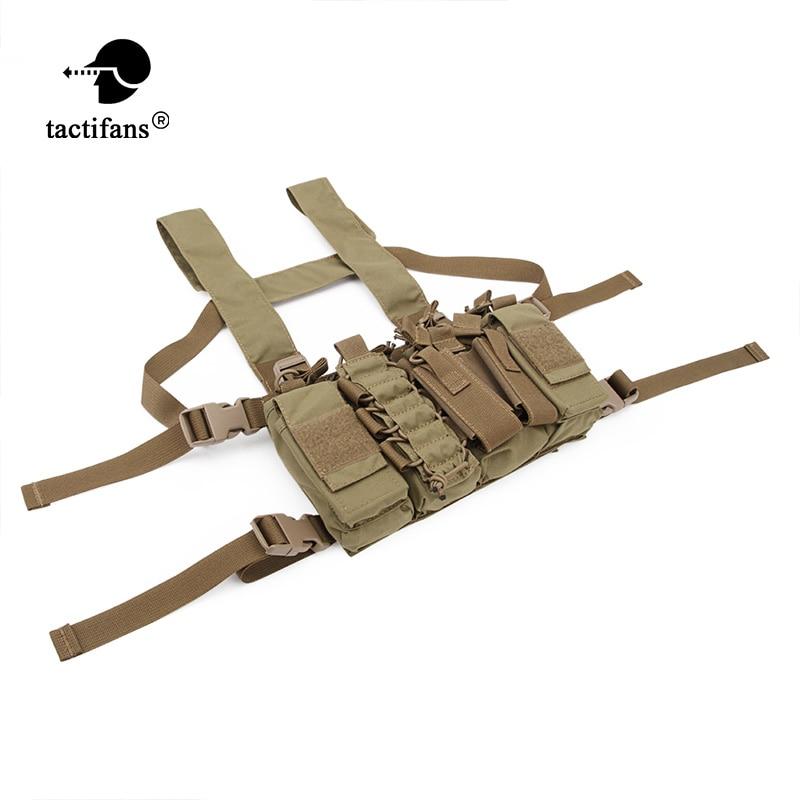 Tactifans D3 Chest Rig Plate Carrier Tactical Vest With Rifle M4 5.56 AK 7.62X39 Single Double Pistol Flapped GP Stuff Pouches