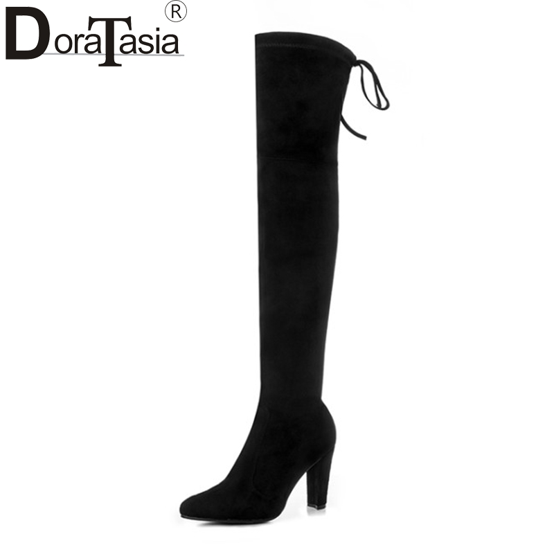 DoraTasia 2017 large size 34-43 kid suede women shoes woman sexy over the knee boots slip on high heels party boots nasipal 2017 new women pu sexy fashion over the knee boots sexy thin high heel boots platform woman shoes big size 34 43 g804