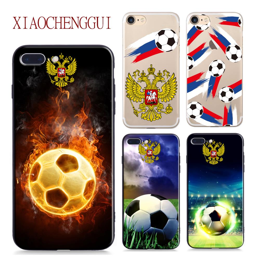 Football Phone Soft silicone Cover For iPhone 7 8 case Soccer Cover For iPhone 6 6s 5s 7 8 Plus X Russian Case Funda Accessories